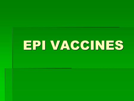 EPI VACCINES. BCG ( Bacille Calmette- Guerin)  Protects infants against TB  In powder form with diluents  Must be discarded after 6 hrs. or at the.