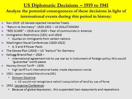 US Diplomatic Decisions – 1919 to 1941 Analyze the potential consequences of these decisions in light of international events during this period in history: