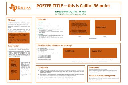 POSTER TITLE – this is Calibri 96 point Author('s) Name('s) Here – 44 point Your Major, Department Name, Honors College Abstract Introduction You can type.