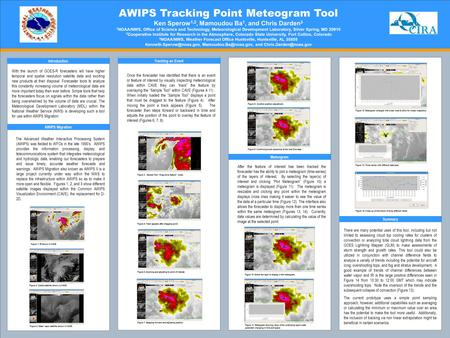AWIPS Tracking Point Meteogram Tool Ken Sperow 1,2, Mamoudou Ba 1, and Chris Darden 3 1 NOAA/NWS, Office of Science and Technology, Meteorological Development.