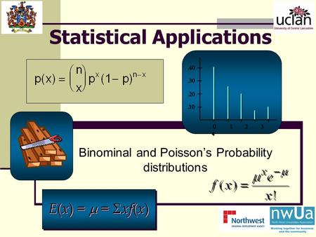 Statistical Applications Binominal and Poisson's Probability distributions.10.20.30.40 0 1 2 3 4 E ( x ) =  =  xf ( x )
