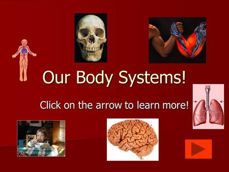 Click on the arrow to learn more! Our Body Systems!