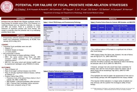 POTENTIAL FOR FAILURE OF FOCAL PROSTATE HEMI-ABLATION STRATEGIES PG O'Malley 1, B Al Hussein Al Awamlh 1, AM Sarkisian 1, DP Nguyen 1, S Jin 1, R Lee 1,
