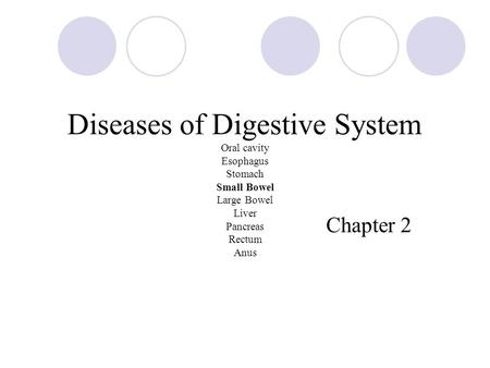 Diseases of Digestive System Oral cavity Esophagus Stomach Small Bowel Large Bowel Liver Pancreas Rectum Anus Chapter 2.