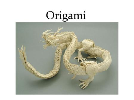 Origami. Origami is the Japanese word for paper folding. ORI means to fold and KAMI means paper.