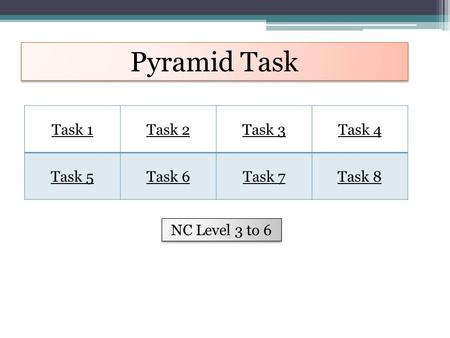 Pyramid Task Task 1Task 2Task 3Task 4 Task 5Task 6Task 7Task 8 NC Level 3 to 6.