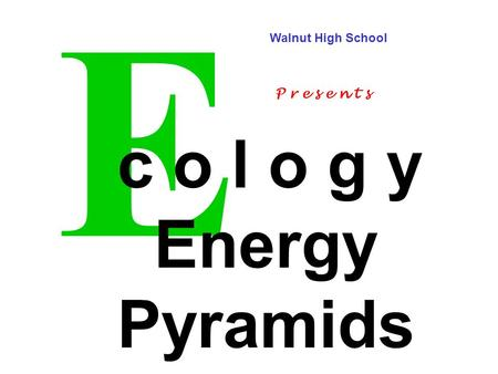 E c o l o g y Energy Pyramids Walnut High School P r e s e n t s.