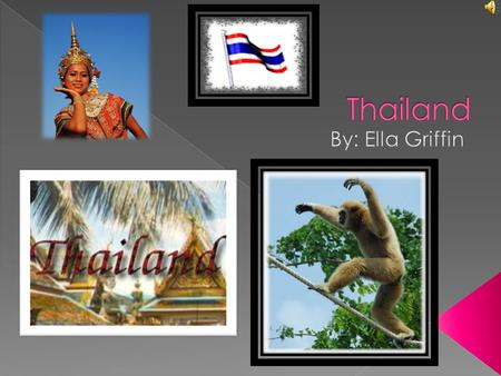  Welcome to Thailand! For the next couple slides we will learn some things about Thailand. I hope you like my slide show.