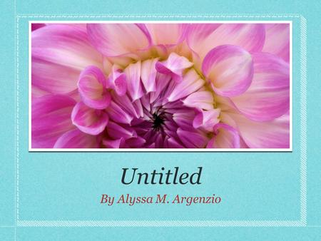 Untitled By Alyssa M. Argenzio. Poem Objectives Dancing in the wind there was a little seed who had nothing to give, or to want or to need. But she knew.