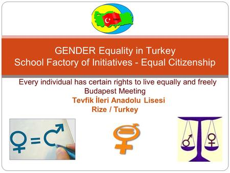 EEe E EEvery individual has certain rights to live equally and freely Budapest Meeting TtTevfik İleri Anadolu Lisesi Rize / Turkey GENDER Equality in Turkey.