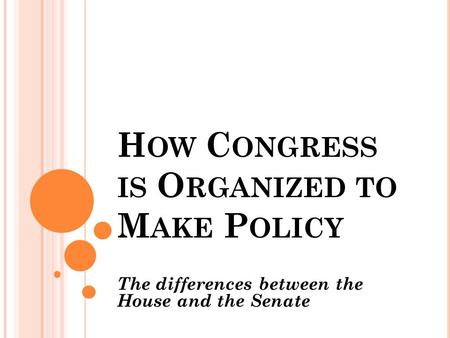 H OW C ONGRESS IS O RGANIZED TO M AKE P OLICY The differences between the House and the Senate.