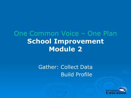 One Common Voice – One Plan School Improvement Module 2