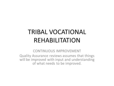 TRIBAL VOCATIONAL REHABILITATION CONTINUOUS IMPROVEMENT Quality Assurance reviews assumes that things will be improved with input and understanding of.