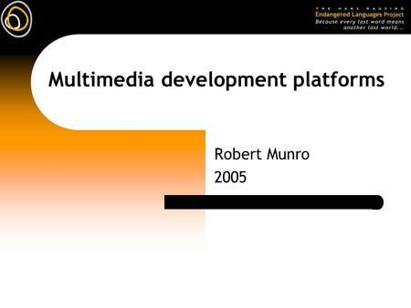 Multimedia development platforms Robert Munro 2005.