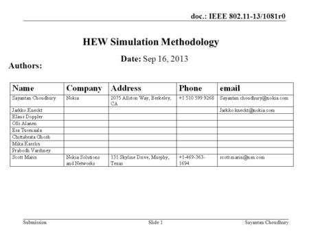 Doc.: IEEE 802.11-13/1081r0 SubmissionSayantan Choudhury HEW Simulation Methodology Date: Sep 16, 2013 Authors: Slide 1.
