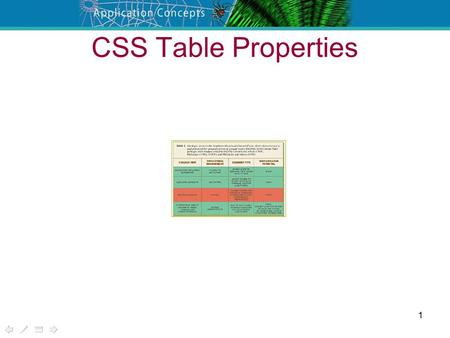 1 CSS Table Properties. 2 Css table properties table-layout specifies the layout algorithm for a table element border-collapse specifies the border model.
