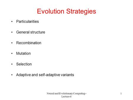 Neural and Evolutionary Computing - Lecture 6