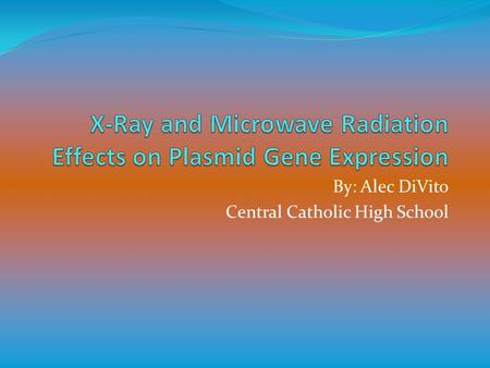 By: Alec DiVito Central Catholic High School. Problem Does X-ray radiation damage plasmid DNA and alter gene expression? Does microwave radiation damage.