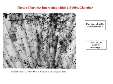 Photo of Particles Interacting within a Bubble Chamber Fermilab bubble chamber: 4.6 m in diameter in a 3 T magnetic field How does a bubble chamber work.