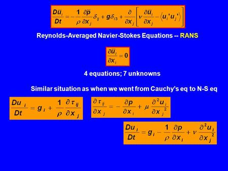Reynolds-Averaged Navier-StokesRANS Reynolds-Averaged Navier-Stokes Equations -- RANS 4 equations; 7 unknowns Similar situation as when we went from Cauchy's.