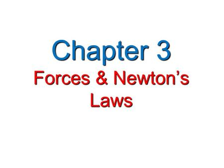 Chapter 3 Forces & Newton's Laws. Forces   Force —a push or pull that one body exerts on another Force   Forces can be shown as vectors   Vector.
