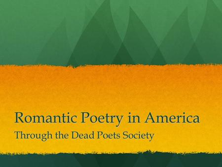 Romantic Poetry in America