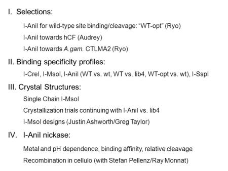 "I. Selections: I-AniI for wild-type site binding/cleavage: ""WT-opt"" (Ryo) I-AniI towards hCF (Audrey) I-AniI towards A.gam. CTLMA2 (Ryo) II. Binding specificity."