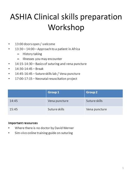 ASHIA Clinical skills preparation Workshop 13:00 doors open / welcome 13:30 – 14:00 – Approach to a patient in Africa – History taking – Illnesses you.