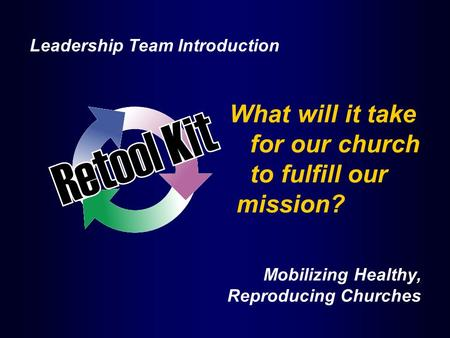 What will it take for our church to fulfill our mission? Mobilizing Healthy, Reproducing Churches Leadership Team Introduction.