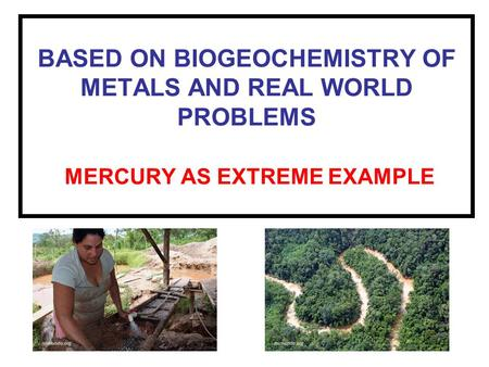 BASED ON BIOGEOCHEMISTRY OF METALS AND REAL WORLD PROBLEMS MERCURY AS EXTREME EXAMPLE.