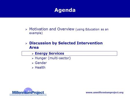 Www.unmillenniumproject.org Agenda  Motivation and Overview (using Education as an example)  Discussion by Selected Intervention Area  Energy Services.