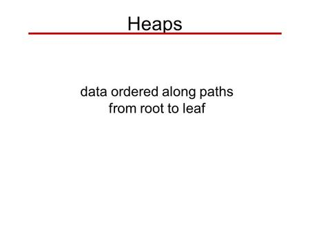 data ordered along paths from root to leaf