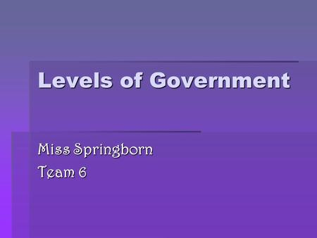 Levels of Government Miss Springborn Team 6. National Government Based in Washington D.C.  Chief Executive: President Obama  Legislative: Congress,