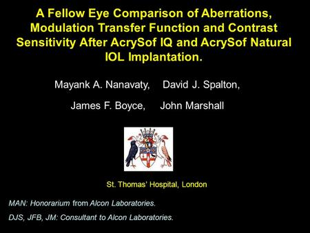 A Fellow Eye Comparison of Aberrations, Modulation Transfer Function and Contrast Sensitivity After AcrySof IQ and AcrySof Natural IOL Implantation. Mayank.
