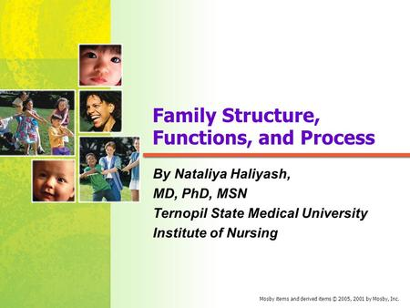 Mosby items and derived items © 2005, 2001 by Mosby, Inc. Family Structure, Functions, and Process By Nataliya Haliyash, MD, PhD, MSN Ternopil State Medical.