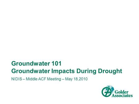 Groundwater 101 Groundwater Impacts During Drought NIDIS – Middle ACF Meeting – May 18,2010.