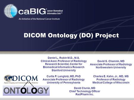 DICOM Ontology (DO) Project Daniel L. Rubin M.D., M.S. Clinical Asst. Professor of Radiology Research Scientist, Center for Biomedical Informatics Research.