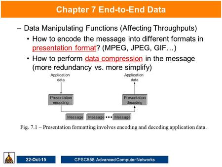 22-Oct-15CPSC558: Advanced Computer Networks Chapter 7 End-to-End Data –Data Manipulating Functions (Affecting Throughputs) How to encode the message into.