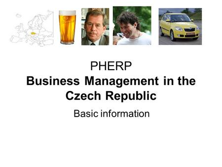 Basic information PHERP Business Management in the Czech Republic.