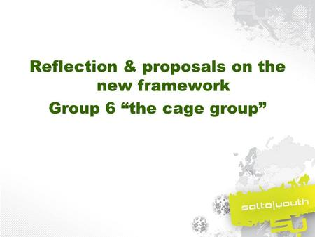 "Reflection & proposals on the new framework Group 6 ""the cage group"""