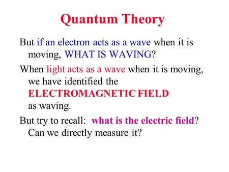 Quantum Theory But if an electron acts as a wave when it is moving, WHAT IS WAVING? When light acts as a wave when it is moving, we have identified the.