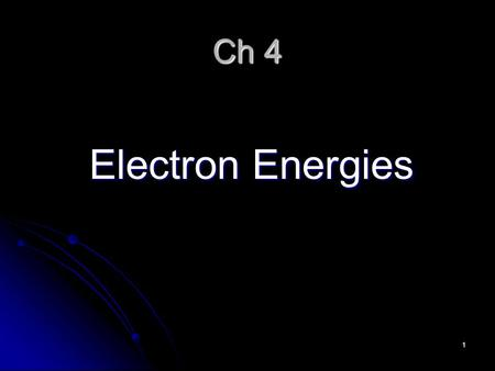1 Ch 4 Electron Energies. 2 Electromagnetic Spectrum Electromagnetic radiation is a form of energy that exhibits wave-like behavior as it travels though.