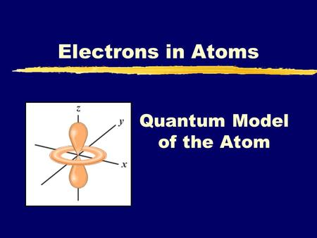 Quantum Model of the Atom Electrons in Atoms. A. Electrons as Waves zLouis de Broglie (1924) yApplied wave-particle theory to e - ye - exhibit wave properties.