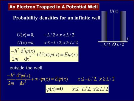 An Electron Trapped in A Potential Well Probability densities for an infinite well Solve Schrödinger equation outside the well.