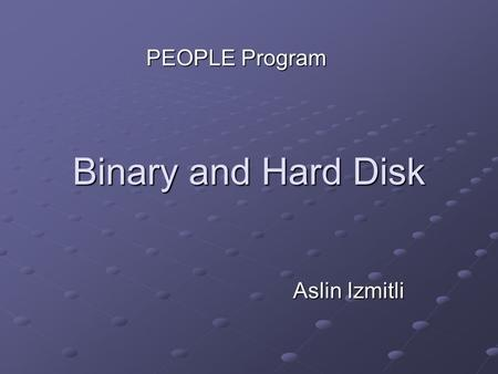 Binary and Hard Disk Aslin Izmitli PEOPLE Program.