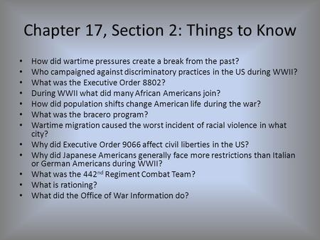Chapter 17, Section 2: Things to Know