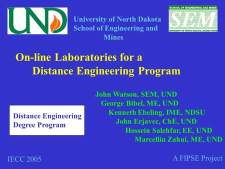 On-line Laboratories for a Distance Engineering Program