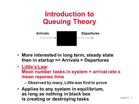 Lecture 3: 1 Introduction to Queuing Theory More interested in long term, steady state than in startup => Arrivals = Departures Little's Law: Mean number.