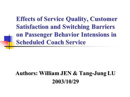 perceived service quality of public transport Measuring perceived service quality using servqual: a case study of  (tsoukatos,marwaandrand2004),public-transport(sánchezpérez 2007), restaurants (andaleeb and.