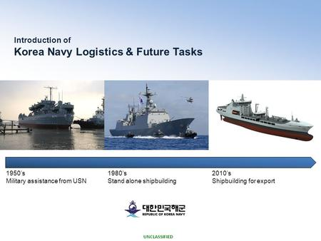 UNCLASSIFIED 1950's Military assistance from USN 1980's Stand alone shipbuilding 2010's Shipbuilding for export Introduction of Korea Navy Logistics &